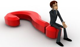 3d man sitting on question mark in stress concept Royalty Free Stock Photo