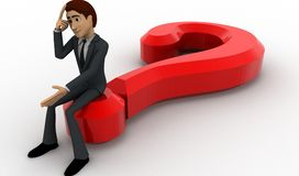 3d man sitting on question mark in stress concept Stock Image