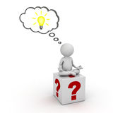 3d man sitting on question marks box and thinking with idea bulb in thought bubble above his head over white. Background Royalty Free Stock Photography