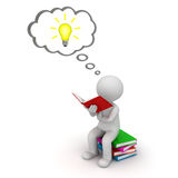 3d man sitting and reading a book with idea bulb in thought bubble over white. Background Stock Images