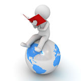 3d man sitting and reading a red book on blue globe over white Stock Photography