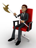 3d man sitting on red chair with axe concept Stock Image