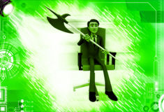 3d man sitting on red chair with axe illustration Royalty Free Stock Images