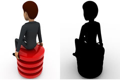 3d man sitting on red circle concept collections with alpha and shadow channel Stock Photo
