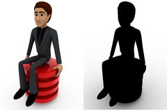 3d man sitting on red circle concept collections with alpha and shadow channel Royalty Free Stock Image