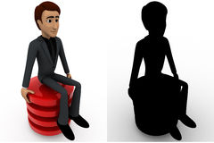 3d man sitting on red circle concept collections with alpha and shadow channel Royalty Free Stock Images