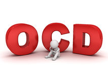 3d man sitting with red ocd text or Obsessive compulsive disorder Royalty Free Stock Photo