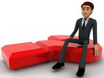 3d man sitting on red question mark concept Royalty Free Stock Photos