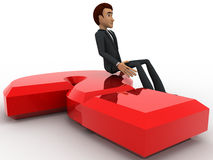 3d man sitting on red question mark concept Stock Photo