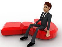 3d man sitting on red question mark concept Royalty Free Stock Photo