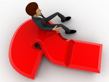 3d man sitting on red question mark concept Stock Photography