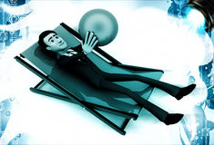 3d man sitting on resting chair holding blue globe in hand illustration Royalty Free Stock Images