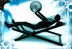 3d man sitting on resting chair holding blue globe in hand illustration Royalty Free Stock Photography