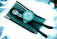 3d man sitting on resting chair holding blue globe in hand illustration Royalty Free Stock Image