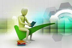 3d man sitting on the right mark. In color background Royalty Free Stock Images