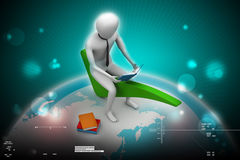 3d man sitting on the right mark. In color background Royalty Free Stock Image