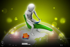 3d man sitting on the right mark. In color background Stock Images