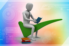 3d man sitting on the right mark Royalty Free Stock Photo
