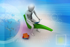 3d man sitting on the right mark. In colour background Royalty Free Stock Photo