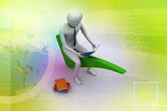 3d man sitting on the right mark. In colour background Stock Image