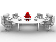 3D man sitting at a round table and having business meeting. 3d render Royalty Free Stock Photography