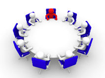 3D man sitting at a round table and having business meeting. 3d render illustration Stock Images