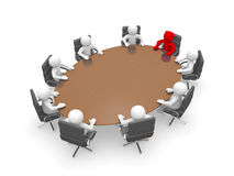 3D man sitting at a round table and having business meeting. 3d render illustration Stock Photo