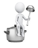 3D man sitting on saucepan Royalty Free Stock Image