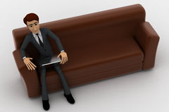 3d man sitting on sofa with smart touch tablet concept Royalty Free Stock Photography
