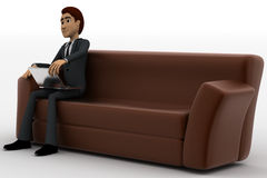 3d man sitting on sofa with smart touch tablet concept Stock Image