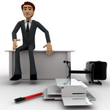 3d man sitting on table inside office , chair and pappers fallen on ground Stock Photo