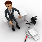 3d man sitting on table inside office , chair and pappers fallen on ground Royalty Free Stock Photos
