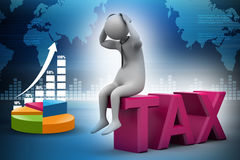3d man sitting on the top of tax. In color background Royalty Free Stock Photography