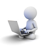 3d man sitting on white ground and using laptop computer on his lap Stock Photos