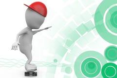 3d man skateboard illustration Royalty Free Stock Images