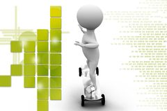 3d man sketeboard illustration Royalty Free Stock Photo
