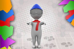 3d man ski  illustration Royalty Free Stock Images
