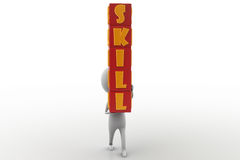 3d man skill cube concept Royalty Free Stock Images