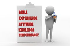 3d man with skill experience attitude knowledge Royalty Free Stock Photos