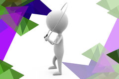 3d man with skipping rope illustration Stock Photo