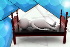 3d man sleep in bed illustration Royalty Free Stock Photos