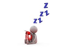3d man sleep with clock concept Stock Images