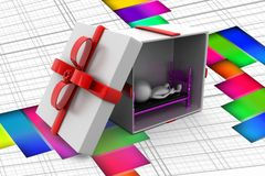 3d man sleep inside gift illustration Royalty Free Stock Photo