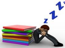 3d man sleep while reading book concept Stock Photos