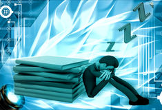 3d man sleep while reading book illustration Stock Photos