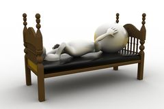 3d man sleeping on bed Stock Images