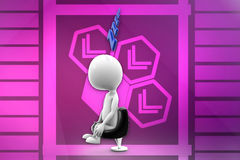 3d man sleeping on chair illustration Royalty Free Stock Photography