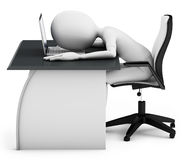 3d man sleeping on a desk with laptop. On white background Royalty Free Stock Photos