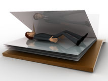 3d man sleeping inside book concept Royalty Free Stock Photography