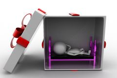 3d man sleeping inside gift box Stock Image